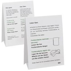 Tabliczka informacyjna o użytkowaniu ręczników, papierowa